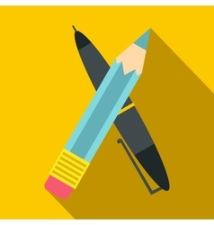 Pen and pencil icon flat style vector