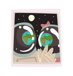 portrait couple astronauts in love romantic vector image