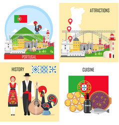 portugal set with traditional cuisine history and vector image