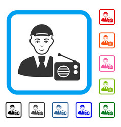 Radio listener framed gladness icon vector
