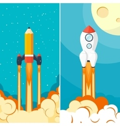 Rocket ship Launch Space travel Start up vector image
