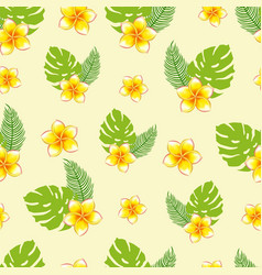 seamless pattern bouquets tropical plants vector image