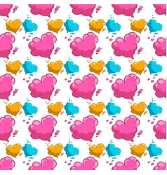 seamless pattern with clouds in heart form vector image