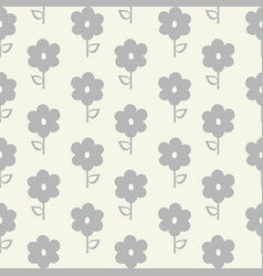 Seamless repeat pattern stylized grey flowers vector