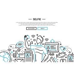 Selfie - line design website banner vector image