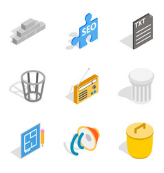 seo search icons set isometric style vector image vector image