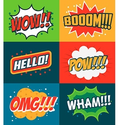 Set comic style phrases boom wow omg vector