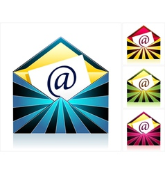 Set envelopes with rays and symbol email vector image