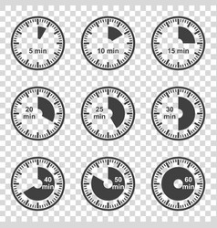 Set of icons set of timers on a transparent vector