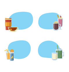 set of stickers with alcoholic drinks in vector image