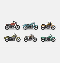 set vintage motorcycle vector image