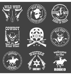 set wild west cowboy designed elements vector image