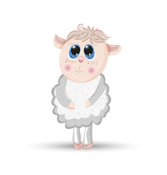 sheep animal cartoon furry lamb character vector image