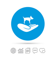 Shelter pets sign icon hand holds dog symbol vector