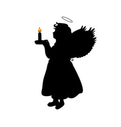 silhouette christmas angel girl with candle vector image