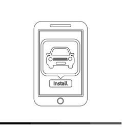 smart phone mobile car application icon design vector image