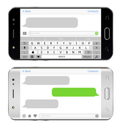 Smart phones with sms chat on screens horizontal vector