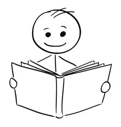 smiling man reading a book vector image