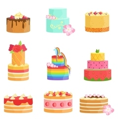 Special Occasion Decorated Cakes Assortment vector