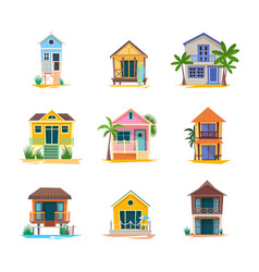 surfer house or baywatch bungalow beach building vector image