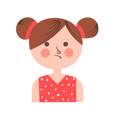 Teenager girl in bad mood with paid hair on white vector