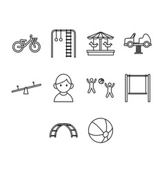 thin line kid icon set vector image