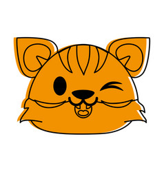 Tiger cute animal cartoon icon image vector