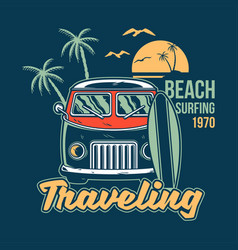 Traveling surfing print vector
