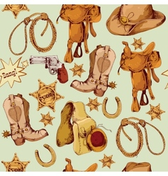 Wild west seamless pattern colored vector image
