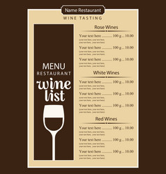 wine list menu with glass of wine and price list vector image