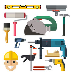 construction man and building tools carpenter vector image