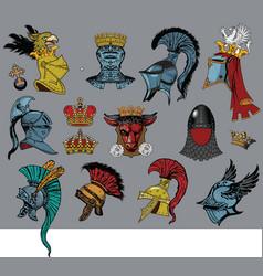 heraldic heads vector image
