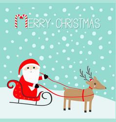 merry christmas santa claus sleigh deer with vector image