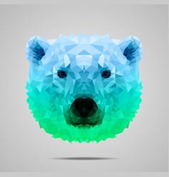 Polar bear poly gradient blue green vector image