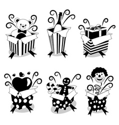 surprise gifts black version vector image vector image