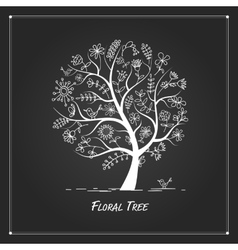 Art floral tree for your design on black vector image vector image
