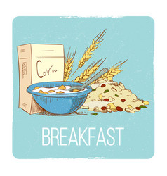 healthy breakfast concept - hand drawn porrige vector image vector image