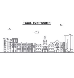 texas fort worth architecture line skyline vector image vector image