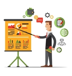 Businessman gives a presentation or seminar vector