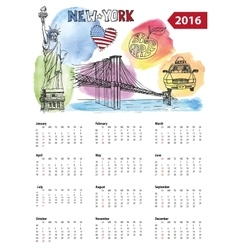 Calendar 2016 New York lsymbolsWatercolor vector image