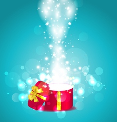 Christmas glowing background with open round gift vector image vector image