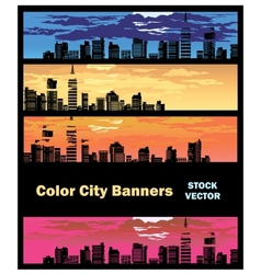 Color city banner vector image