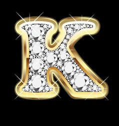 letter k gold and diamond vector image