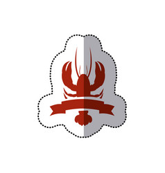 Sticker red silhouette lobster with ribbon vector