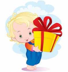 the kid with a gift vector image vector image
