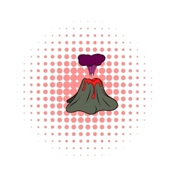 Volcano erupting icon comics style vector image vector image