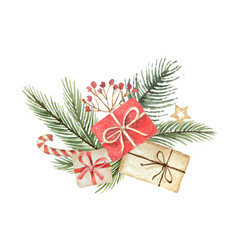 watercolor christmas bouquet with fgifts vector image