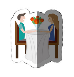 couple love sitting elegant table shadow vector image