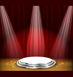 empty stage with red curtain and spotlight vector image vector image