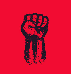 fist held high in protest hand raised up vector image
